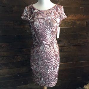 Dress the Population Pink Blush Sequin Dress- NWT